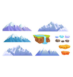 mountains with snow tops cliff stones waterfall vector image