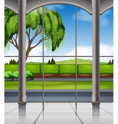 Nature view from window vector