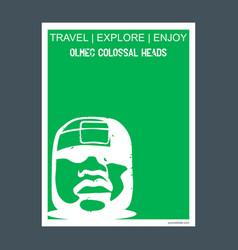 olmec colossal heads guatemala monument landmark vector image