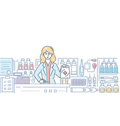 pharmacy - modern colorful line design style vector image