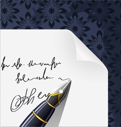 piece of paper blank contract with ink pen vector image