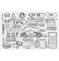 Police tools and uniform doodle set vector