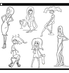 pretty women set cartoon vector image