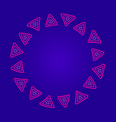 round frame of pink triangles on a dark blue vector image