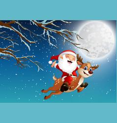 Santa claus riding a reindeer over christmas n vector
