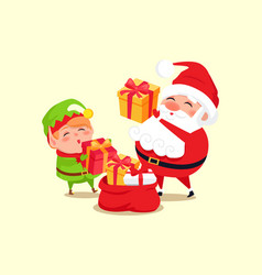 santa elf cartoon characters put present into sack vector image