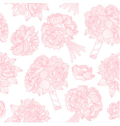 seamless pattern made of peony bouquets on white vector image