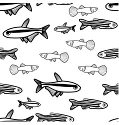 seamless pattern with fish silhouettes vector image