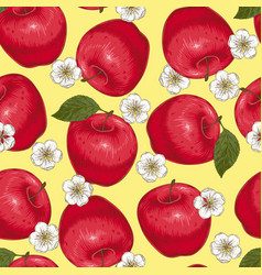seamless pattern with red apples and flowers vector image