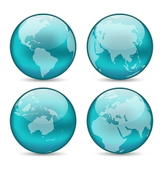 Set globes showing earth with continents vector