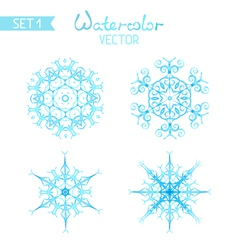 Set of watercolor snowflakes isolated on white vector