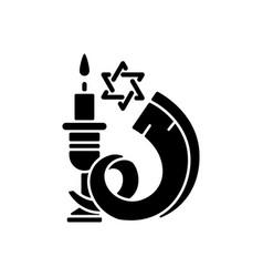 Shofar black glyph icon vector