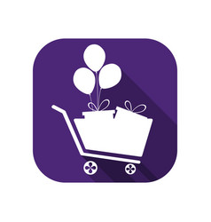shopping cart with gifts and balloons flat icon vector image
