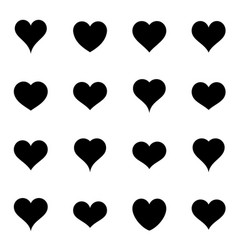 Simple black heart icons vector