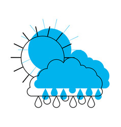 Sun and cloud with drops rain in blue watercolor vector