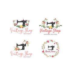 tailor sewing vintage set fashion floral logo vector image