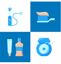 teeth hygiene icon set in flat style vector image