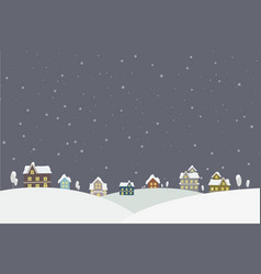 town in snow falling place vector image