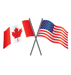 Usa and canadian flags crossed alliance vector