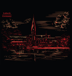 view on church st mary in lubeck black and red vector image