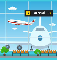 Waiting room at the airport scoreboard arrivals vector