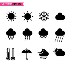 Weather icons set 1 vector image