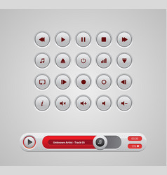 white round media player buttons and audio player vector image