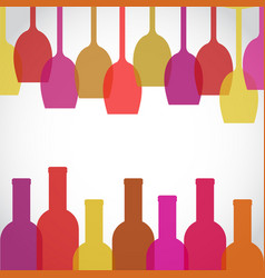 wine glass and bottle art background stock vector image