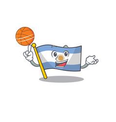 With basketball flag argentina cartoon shaped vector