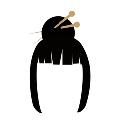 Womans hair icon Japan culture graphic vector