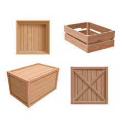 wooden boxes freight containers open and closed vector image