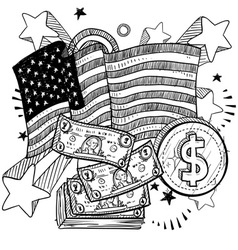 doodle americana money bw vector image
