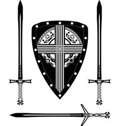 fantasy european shield and swords vector image vector image