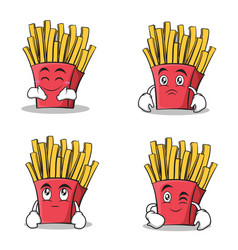 french fries cartoon character set collection vector image vector image