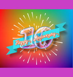 happy 10th anniversary glass bulb numbers set vector image