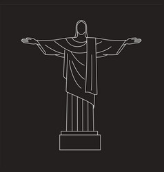 line icon of christ the redeemer rio de vector image