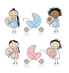 Mother walking with buggy newborn baby vector image vector image