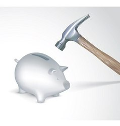 Saving pig with hummer vector image vector image