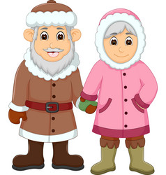 sweet couple cartoon use cold clothes vector image vector image