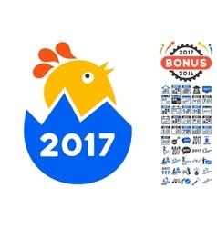 2017 hatch chick icon with 2017 year bonus symbols vector