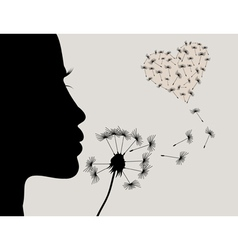 Girl and a dandelion2 vector image vector image