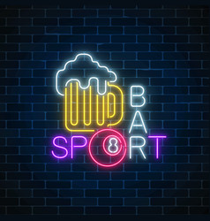 glowing neon sign of bar with billiards including vector image vector image