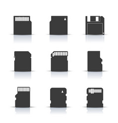 gray memory card icons vector image