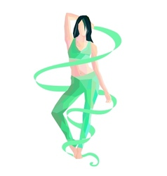 gymnast with ribbon vector image
