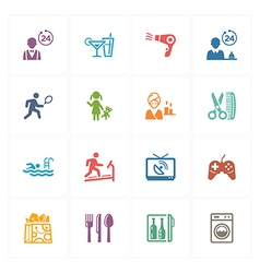 Hotel Icons Set - Colored Series vector image vector image