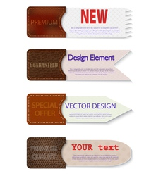 Set of abstract paper tags with leather pockets vector image