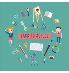 Back to school Student with equipment for lessons vector image vector image