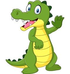 Cartoon funny crocodile waving hand isolated vector
