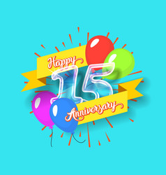 happy 15th anniversary glass bulb numbers set vector image vector image