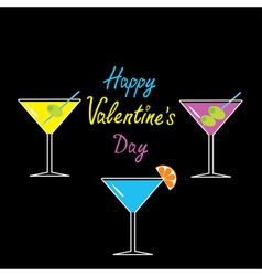 Martini glasses set Happy Valentines Day card vector image vector image